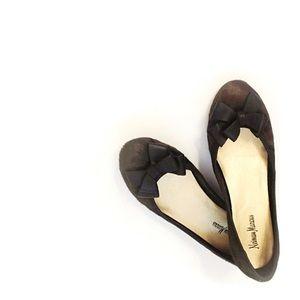 Neiman Marcus Fabow Camouflage Fur Ballerina Flat